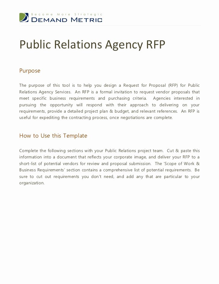 Public Relations Plans Template Lovely Public Relations Agency Rfp