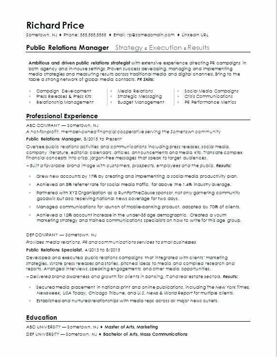 Public Relations Resume Template Inspirational associate Publicist Cover Letter Public Relations Resume