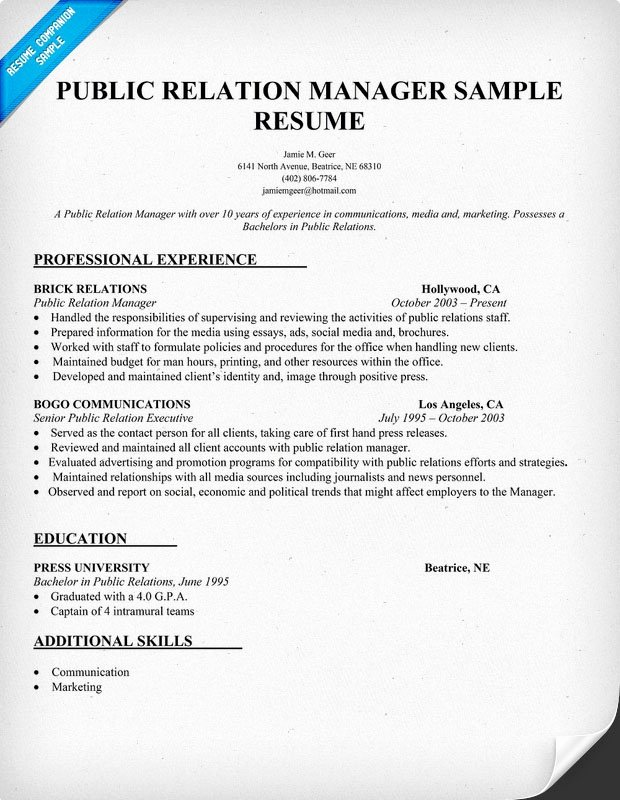 Public Relations Resume Template Luxury Public Relation Manager Resume Sample Pr
