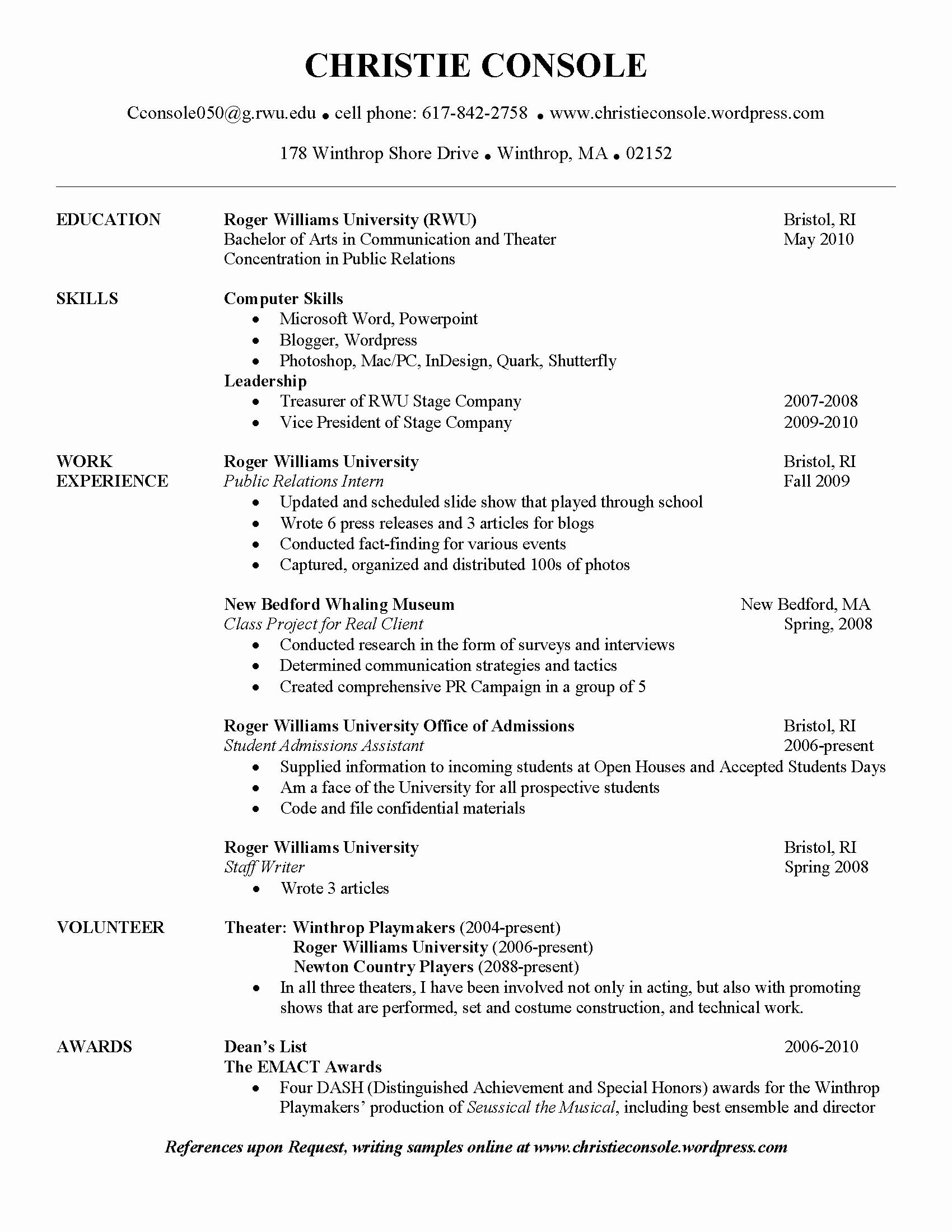Public Relations Resume Template New Pr Resume[1]