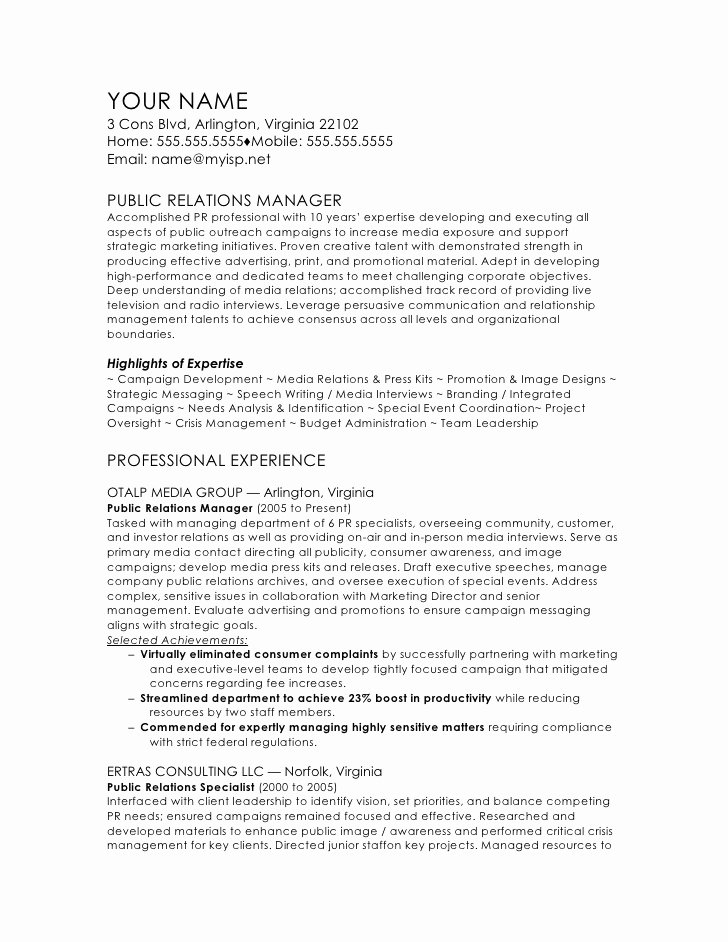 Public Relations Resume Template New Public Relations Manager Cv Template