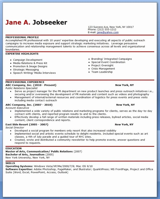 Public Relations Resume Template New Sample Resume for Public Relations Ficer