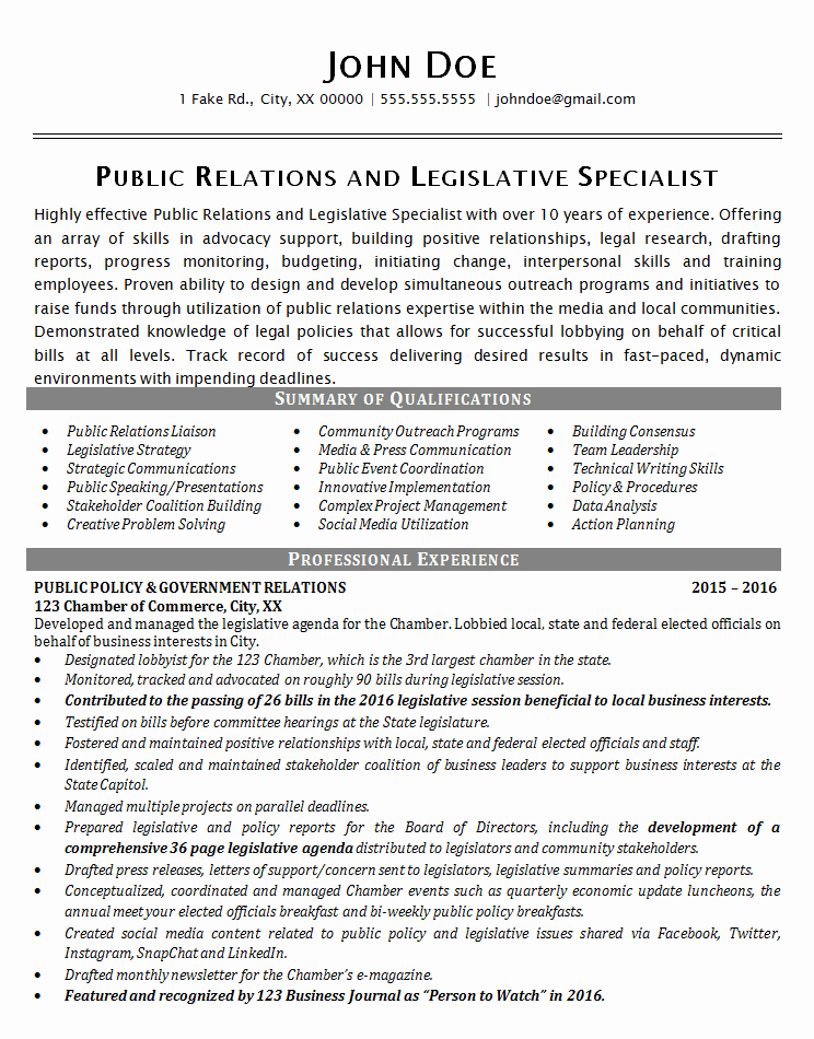 Public Relations Resume Template Unique Public Relations Resume Example Political Legislative