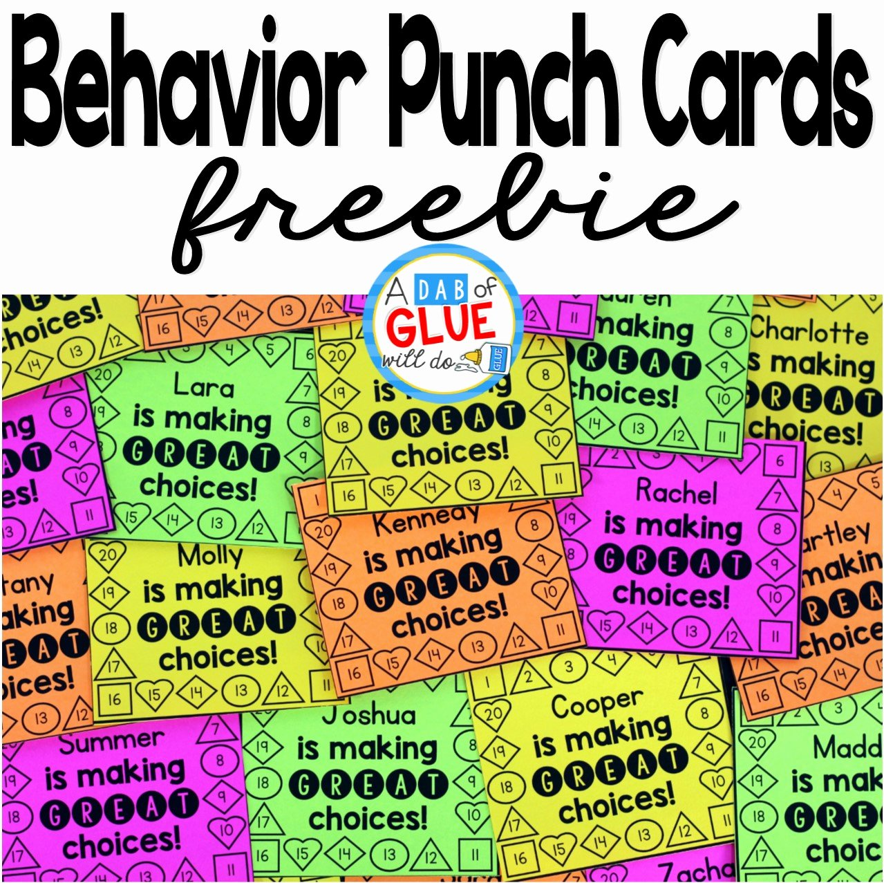 Punch Card Template Free Beautiful Behavior Punch Cards A Dab Of Glue Will Do