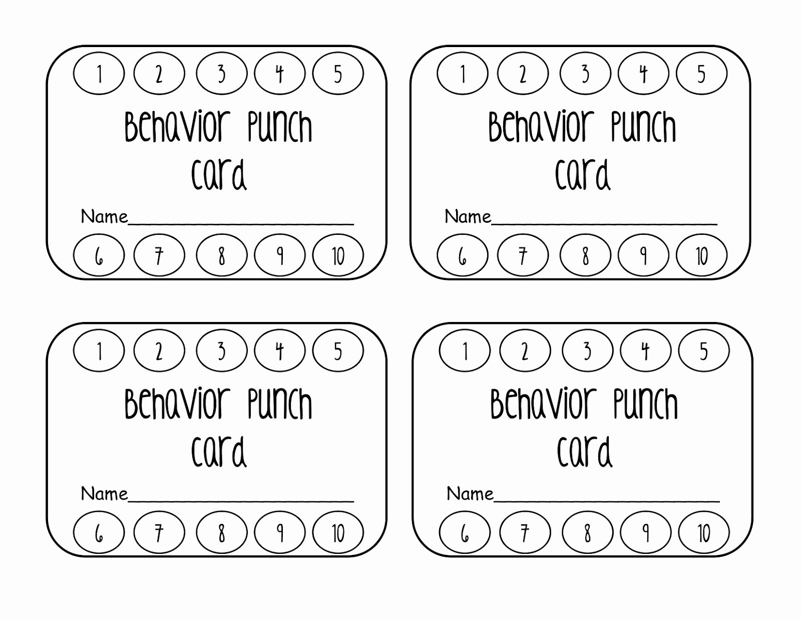 Punch Card Template Free Best Of Behavior Punch Card Classroom Freebies