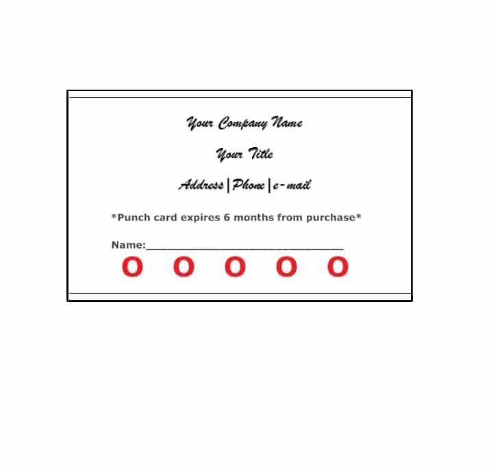 Punch Card Template Free Elegant 30 Printable Punch Reward Card Templates [ Free]