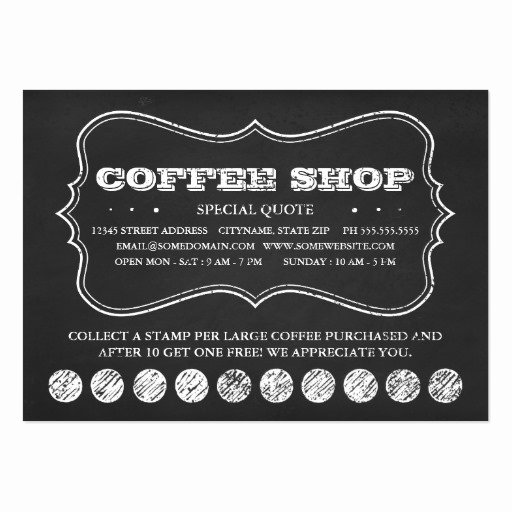 Punch Card Template Free Inspirational One Cup Of Coffee Chalkboard Punch Cards Business