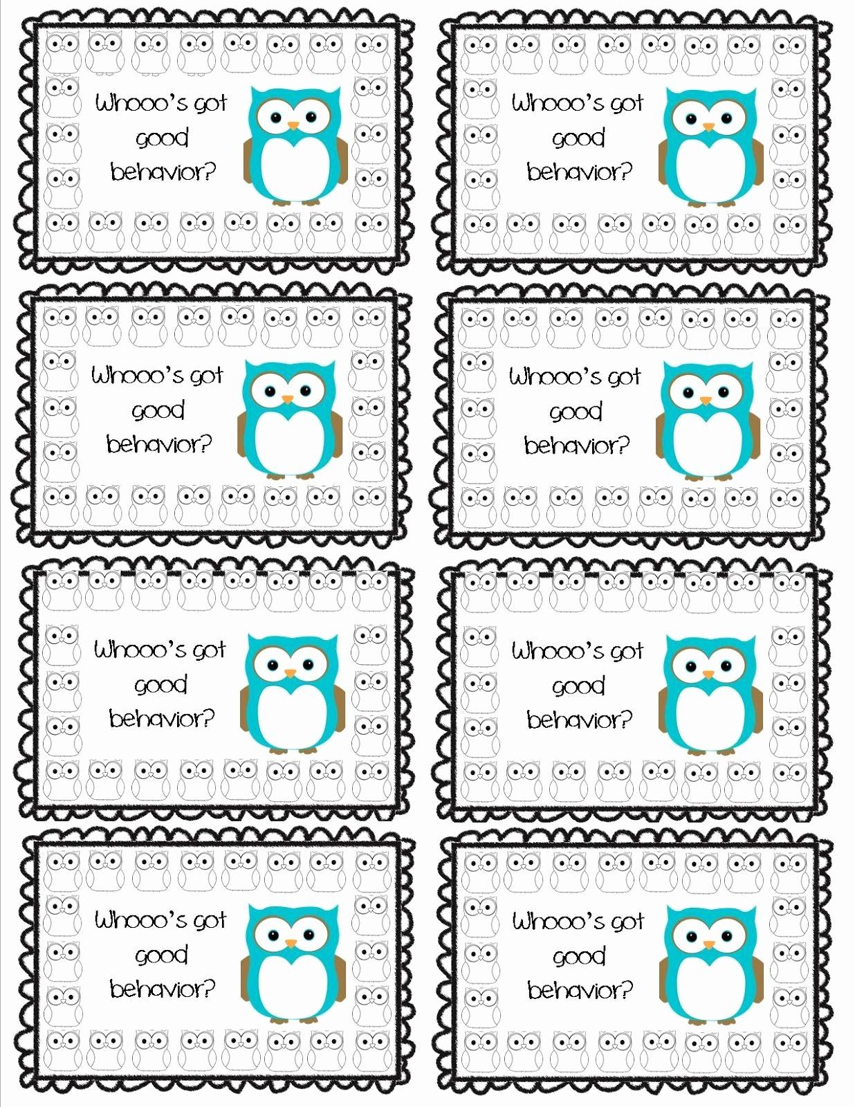 Punch Cards Template Free Awesome whooo S Got Good Behavior Punch Card Part Of A Set Of 8