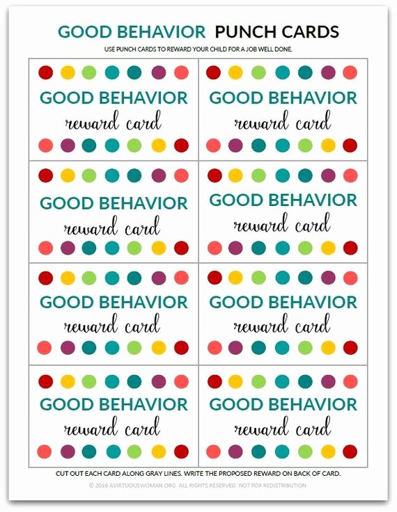 Punch Cards Template Free Elegant Pdf Good Behavior Punch Card Reward Card for Kids