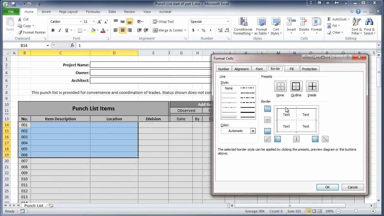 Punch List Template Excel Awesome Excel 2010 Construction Punch List Part I Create Table