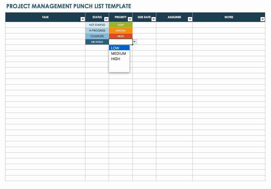 Punch List Template Excel Best Of Free Punch List Templates