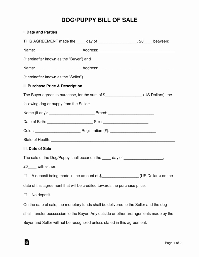 Puppy Health Guarantee Template Best Of Free Dog Puppy Bill Of Sale form Word Pdf