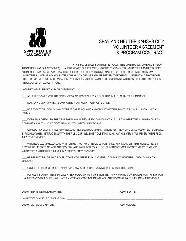 Puppy Health Guarantee Template Lovely Volunteer Agreement and Program Contract