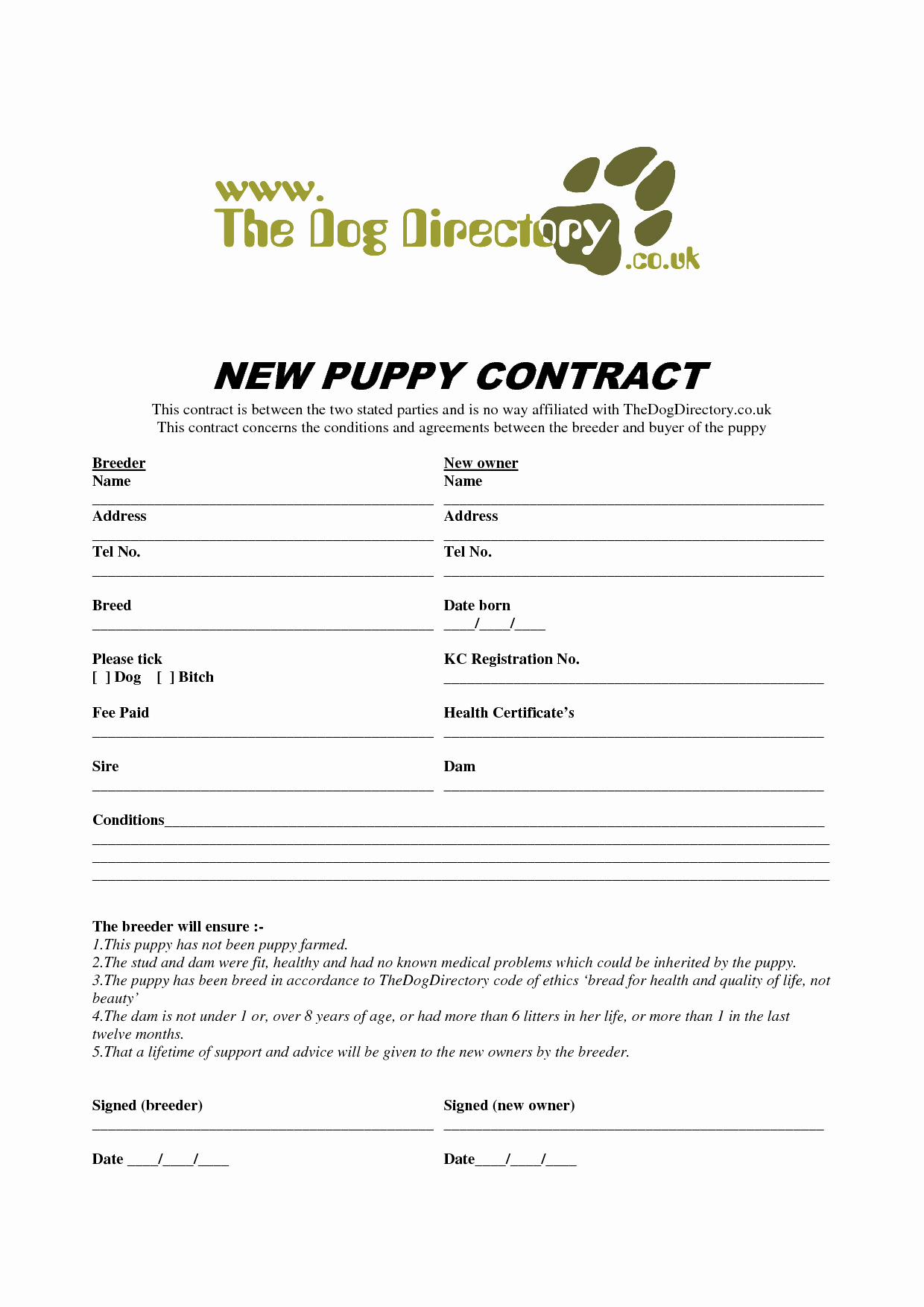 Puppy Sale Contract Template Awesome 8 Best Of Free Printable Puppy Purchase Agreement