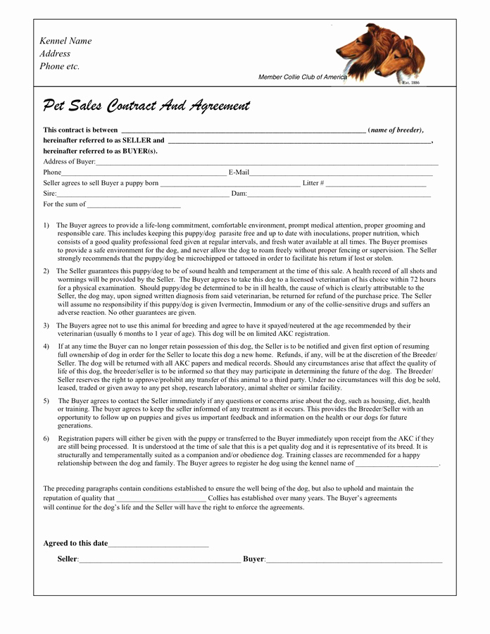 Puppy Sale Contract Template Beautiful Puppy Sales Contract In Word and Pdf formats