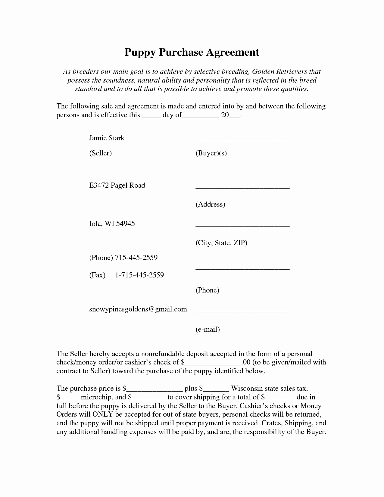Puppy Sale Contract Template Best Of 10 Best Of Free Puppy Purchase Agreement Puppy