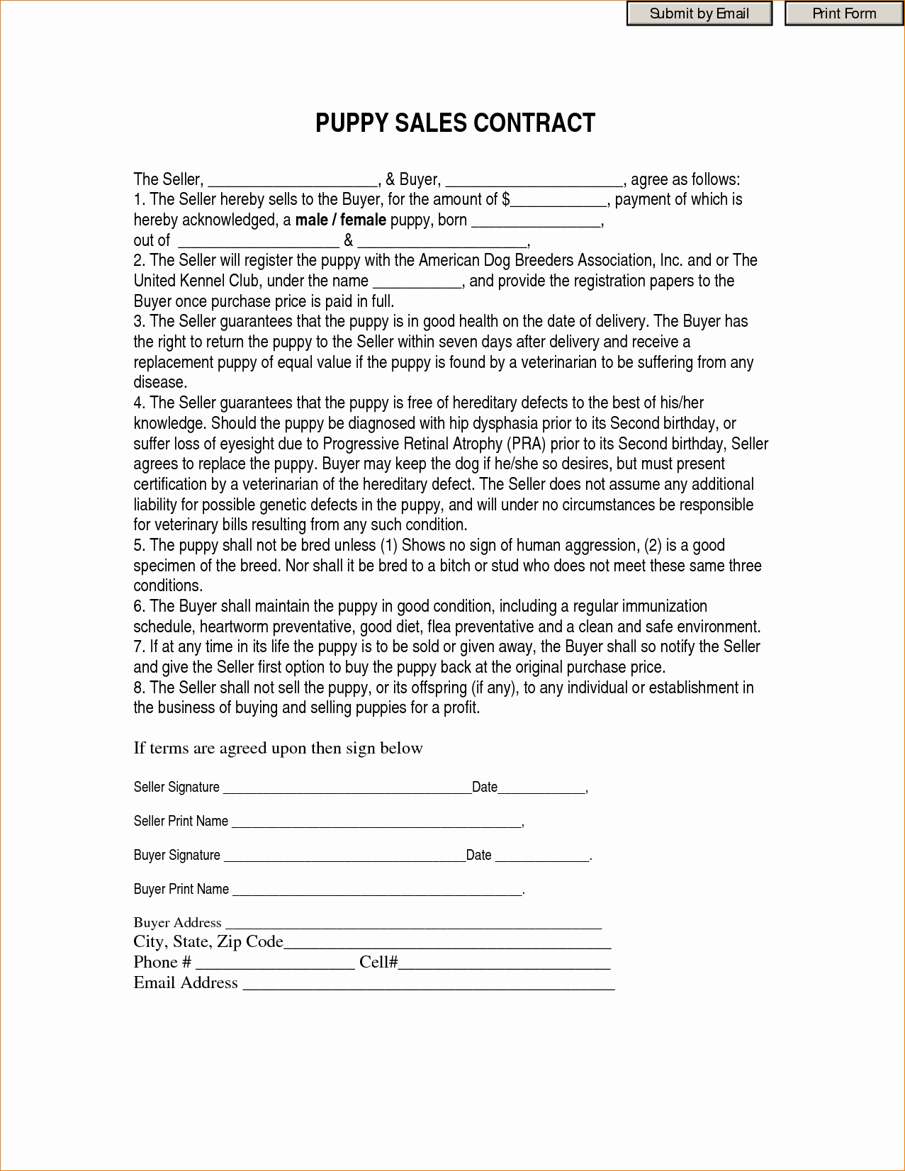 Puppy Sale Contract Template Best Of Contract Puppy Sales Contract form