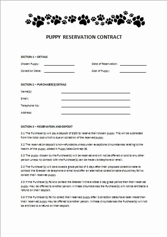 Puppy Sale Contract Template Elegant Items Similar to Puppy Reservation Contract On Etsy