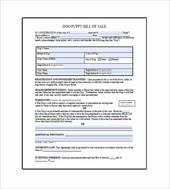 Puppy Sale Contract Template Inspirational Dog Bill Of Sale – 8 Free Sample Example format