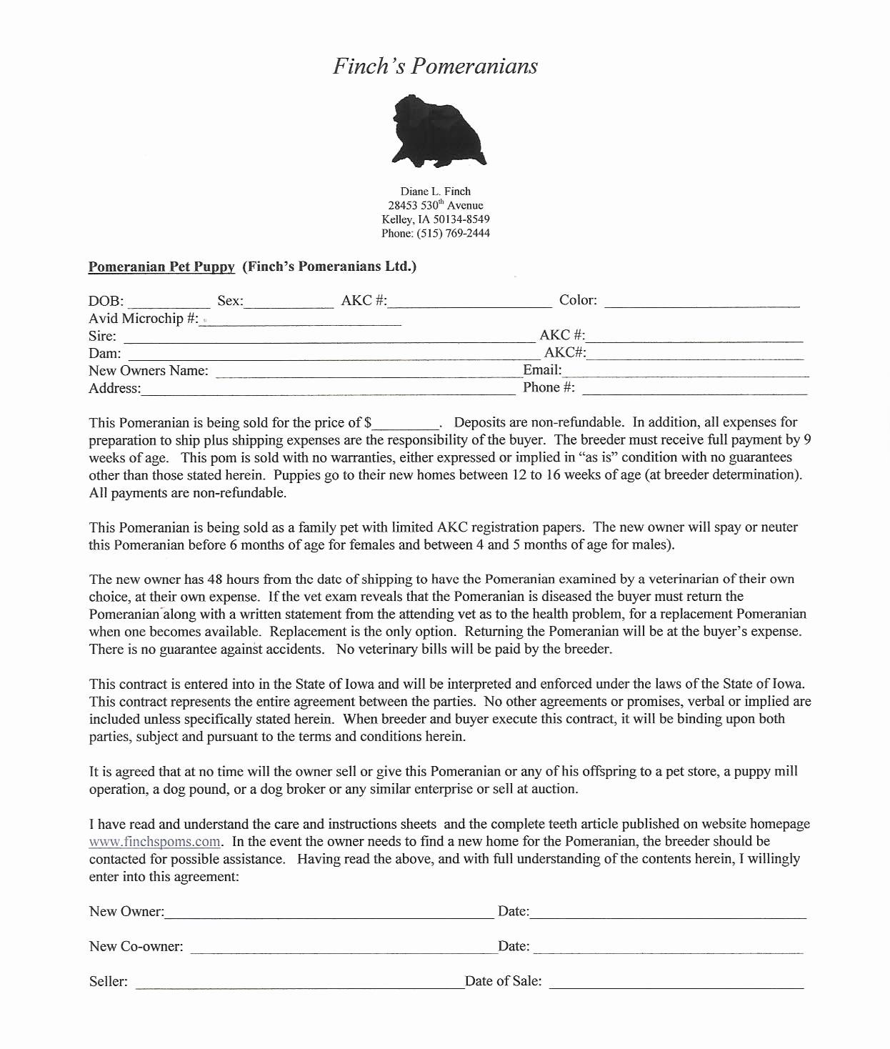 Puppy Sale Contract Template New Breeding Pomeranians