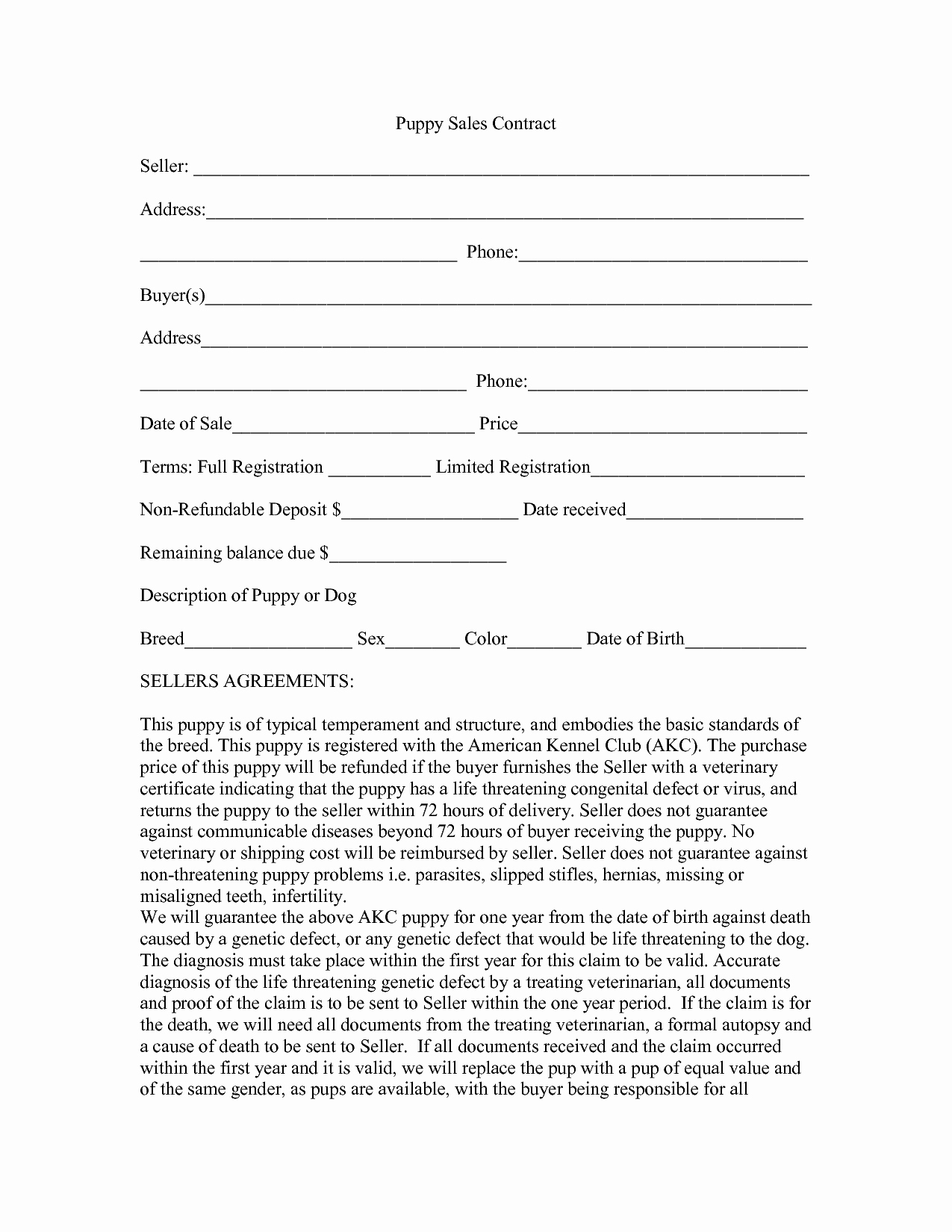 Puppy Sales Contract Template Awesome 8 Best Of Free Printable Puppy Purchase Agreement