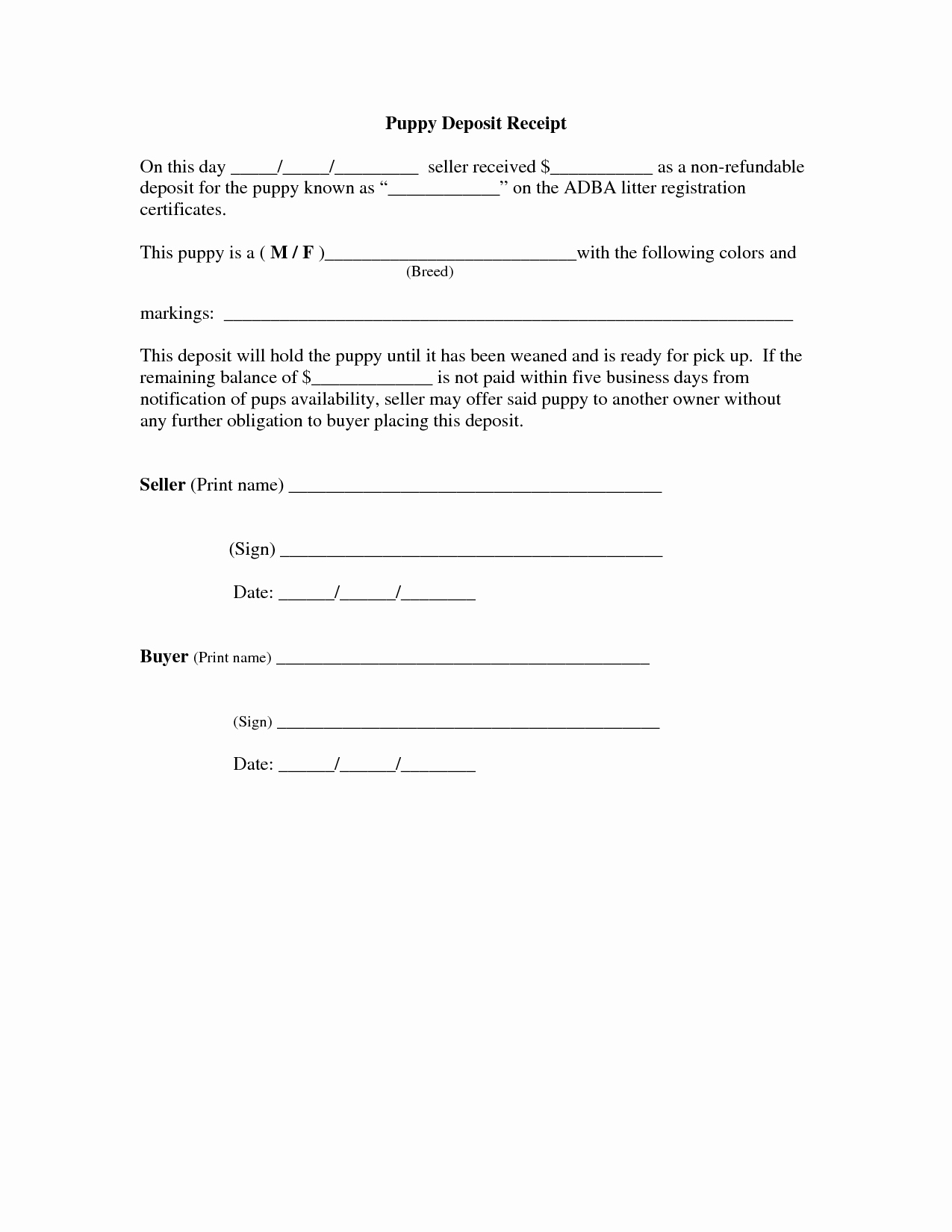 Puppy Sales Contract Template Awesome Of Car Deposit Agreement Template Car Sale Deposit