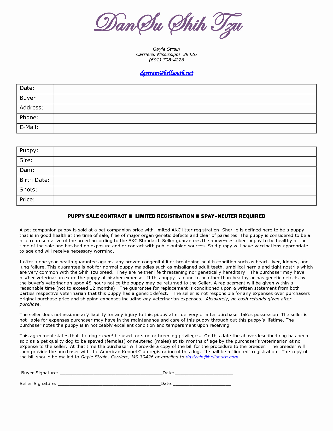 Puppy Sales Contract Template Elegant 8 Best Of Free Printable Puppy Purchase Agreement
