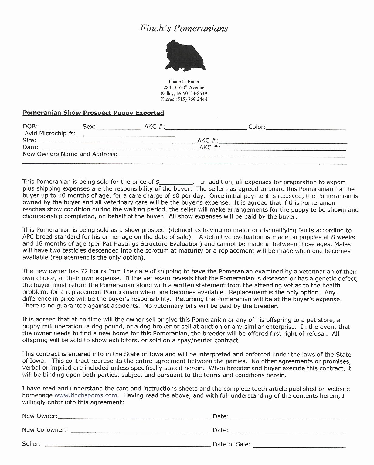 Puppy Sales Contract Template Elegant Breeding Pomeranians