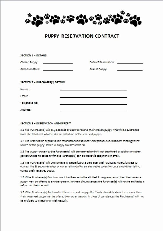 Puppy Sales Contract Template Elegant Items Similar to Puppy Reservation Contract On Etsy