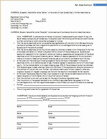 Puppy Sales Contract Template Fresh Pet Sale Contract Template for Word
