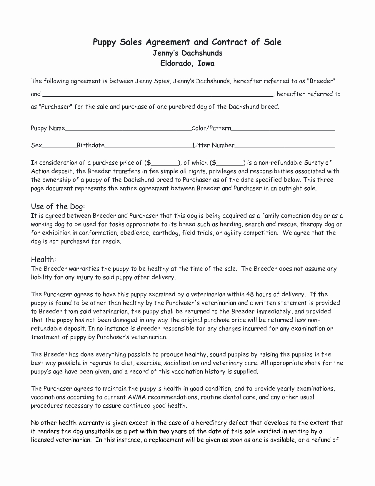 Puppy Sales Contract Template Fresh Puppy Sales Contract Design Templates