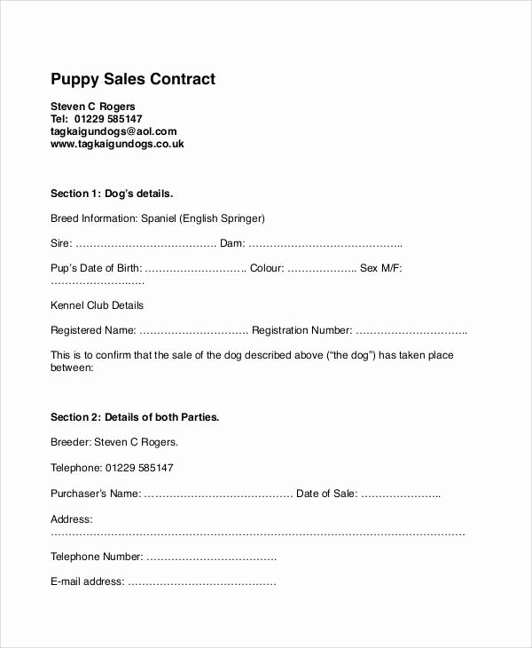 Puppy Sales Contract Template Lovely 9 Sample Puppy Sales Contracts