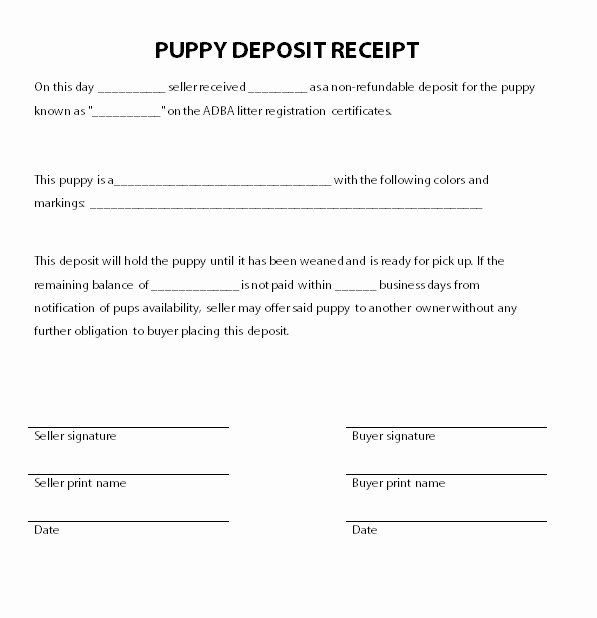 Puppy Sales Contract Template New Puppy Deposit Receipt
