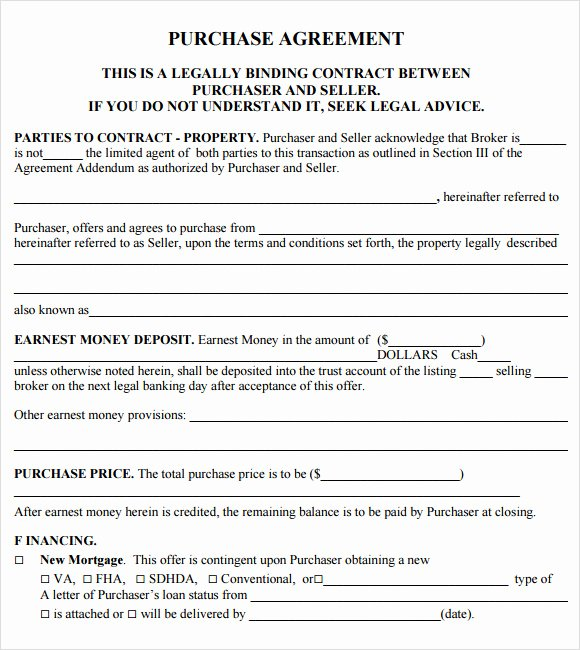 Purchase Agreement Template Word Best Of 11 Sample Purchase Agreements