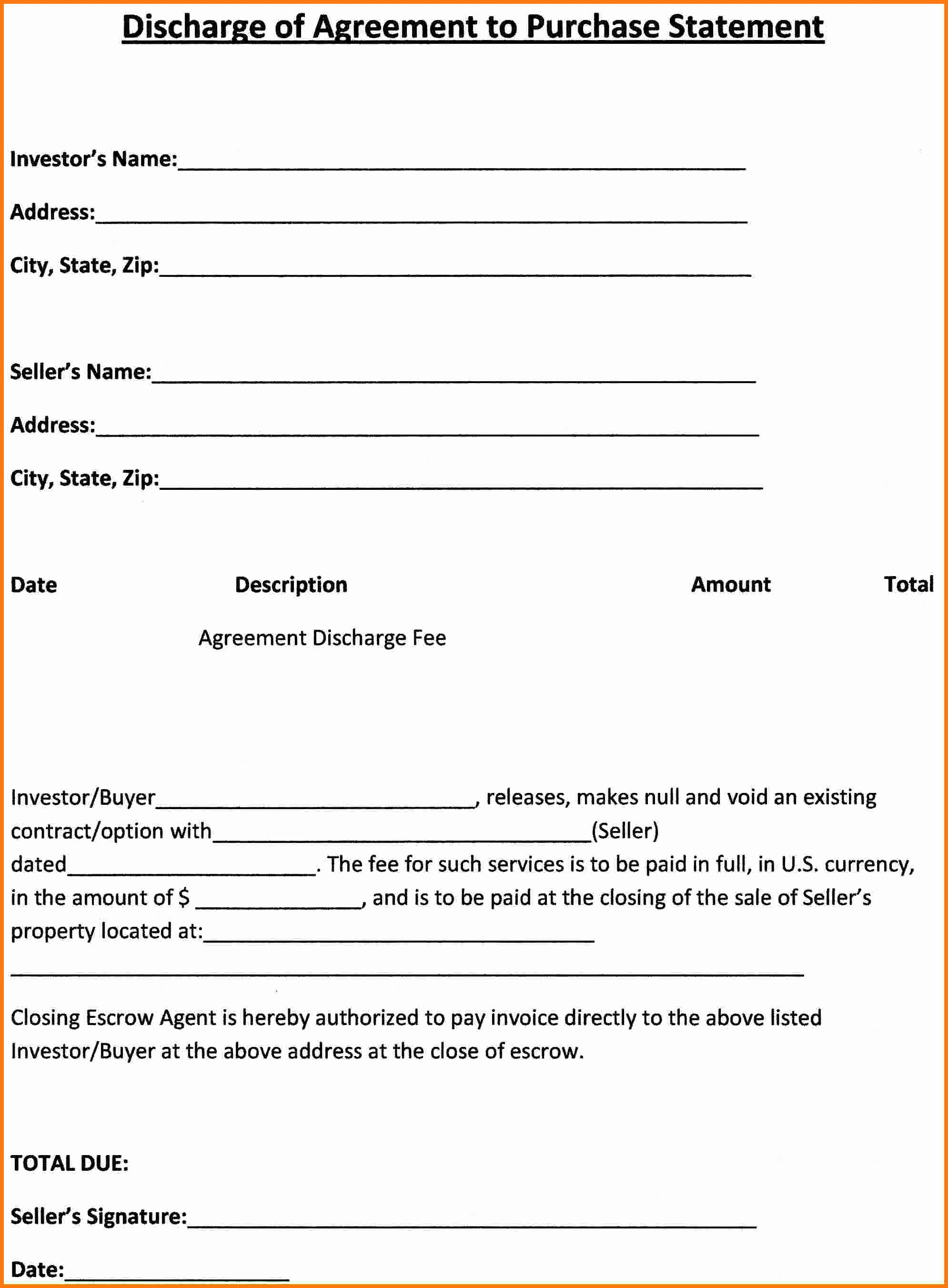 Purchase Agreement Template Word Elegant Simple Purchase Agreement Template Bamboodownunder