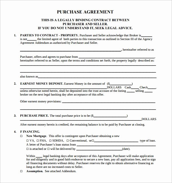 Purchase Agreement Template Word Lovely 14 Sample Real Estate Purchase Agreement Templates
