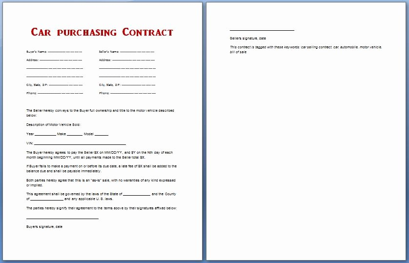 Purchase Agreement Template Word Lovely Car Purchase Contract