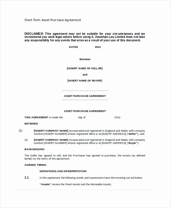 Purchase Agreement Template Word Luxury asset Purchase Agreement 7 Free Word Pdf Documents