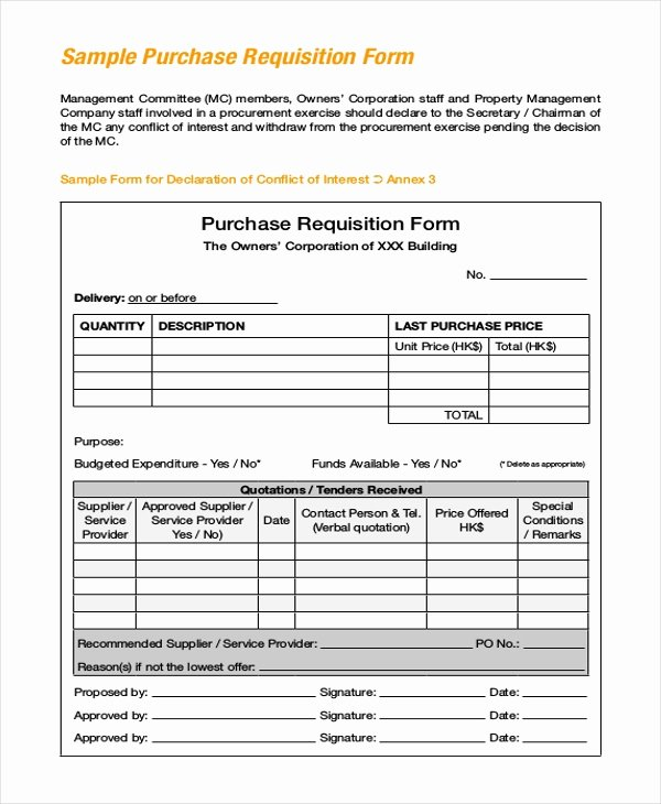 Purchase Requisition form Template Inspirational Sample Purchase Requisition forms 8 Free Documents In