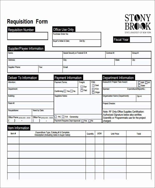 Purchase Requisition form Template Unique 22 Requisition form Samples