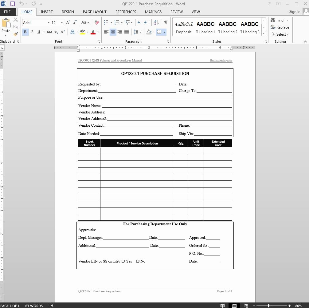 Purchase Requisition forms Template Best Of Purchase Requisition iso Template