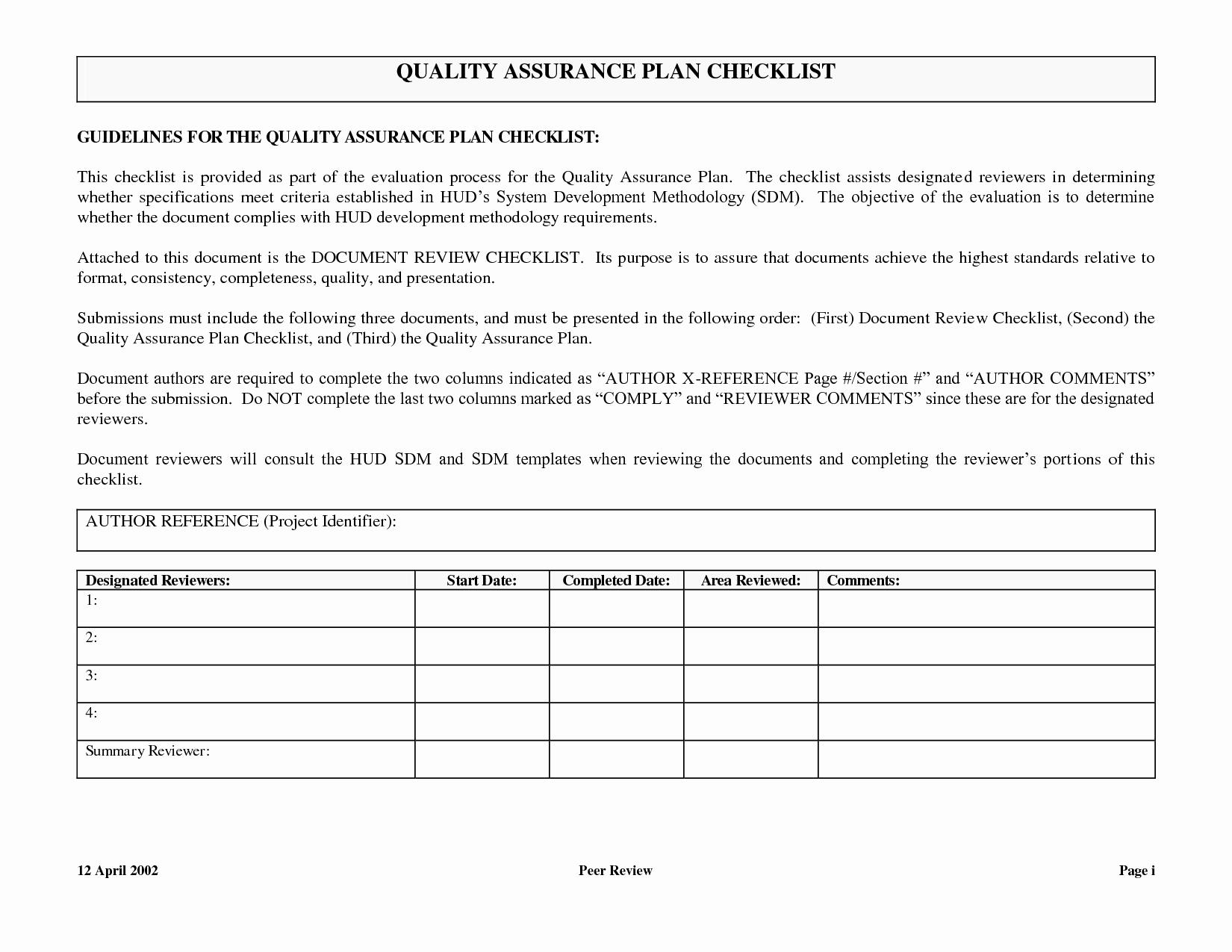 Quality assurance Plans Template Unique Quality assurance Plan Template Quality assurance Plan
