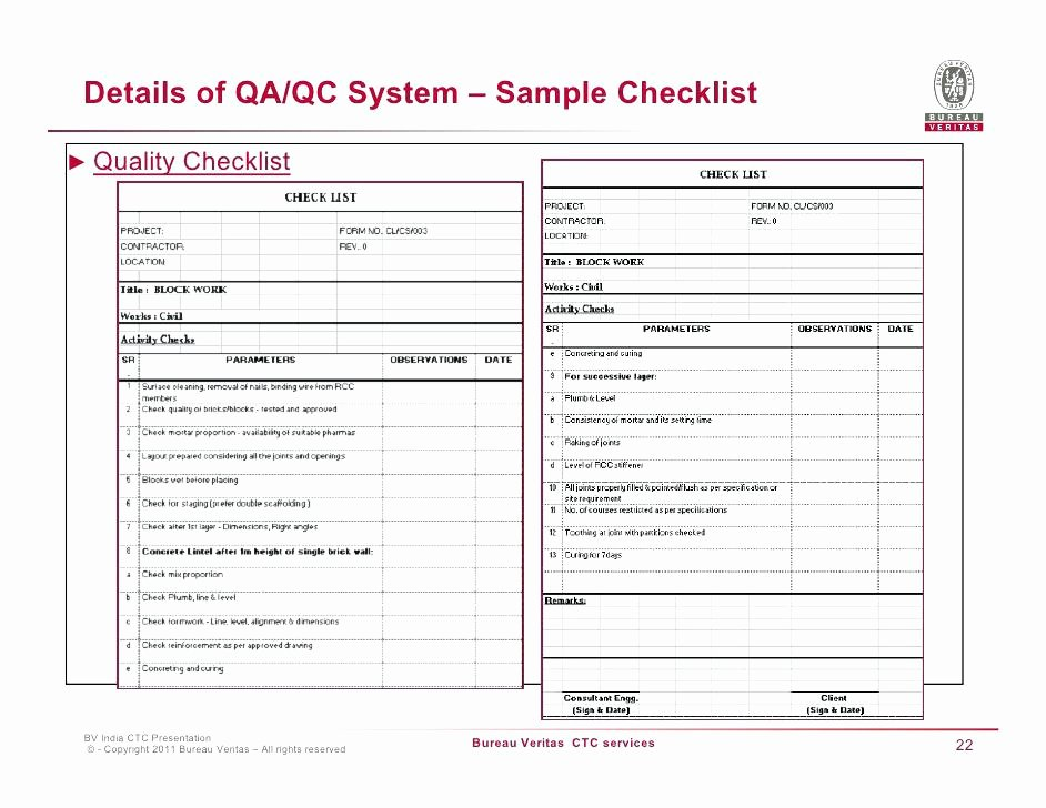 Quality assurance Reports Template Fresh Quality assurance form Template Internal Audit Checklist