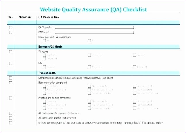 Quality assurance Reports Template Luxury Website Quality assurance Checklist Template Home