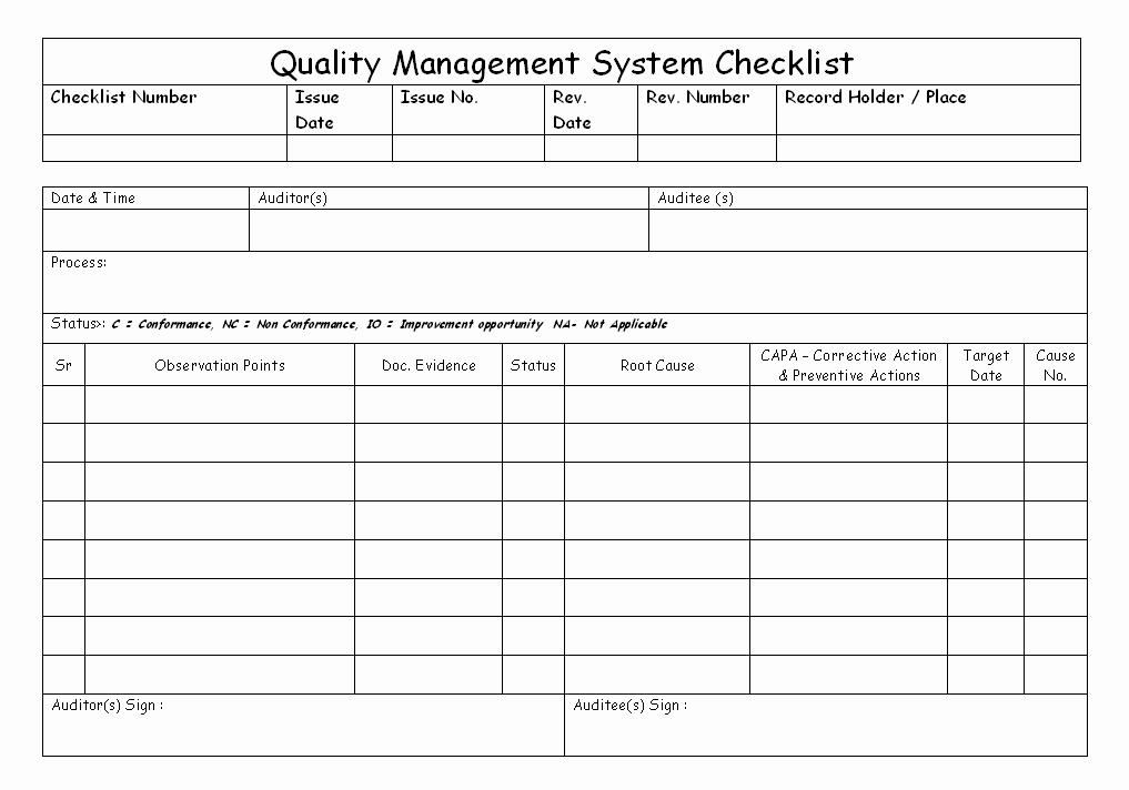 Quality Control Checklist Template Elegant Quality Management System Checklist
