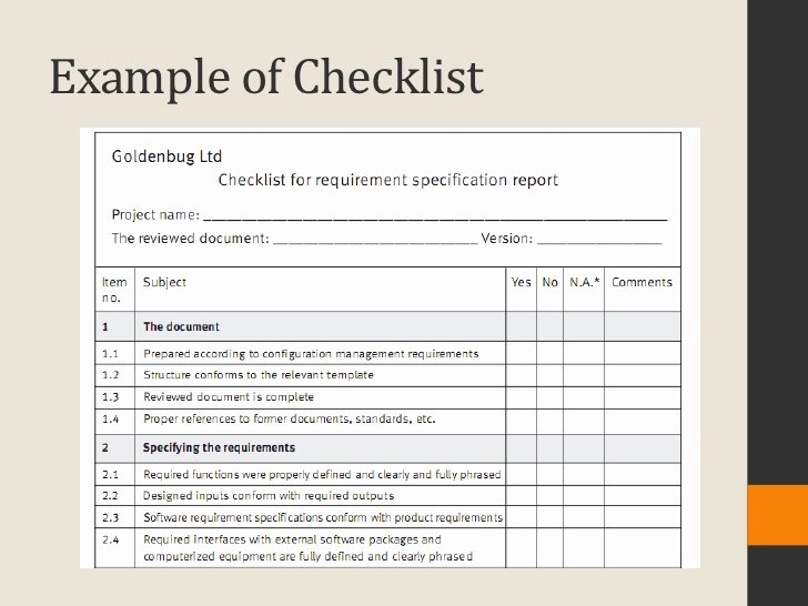 Quality Control Checklist Template Elegant software Quality Infrastructure