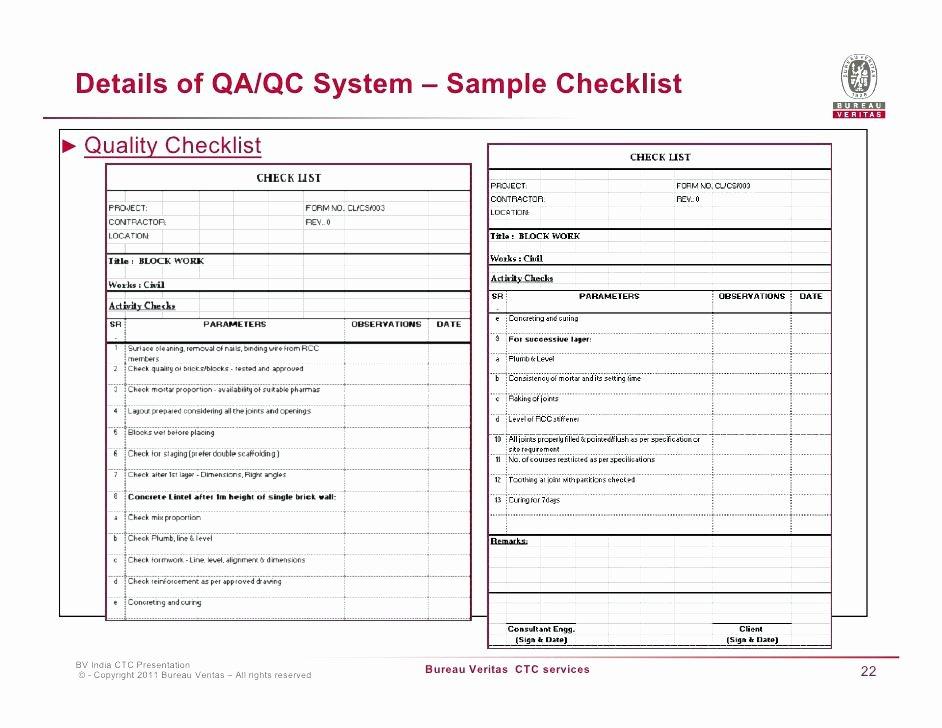 Quality Control Checklist Template Inspirational Quality assurance Excel Template Control Plan Inspection