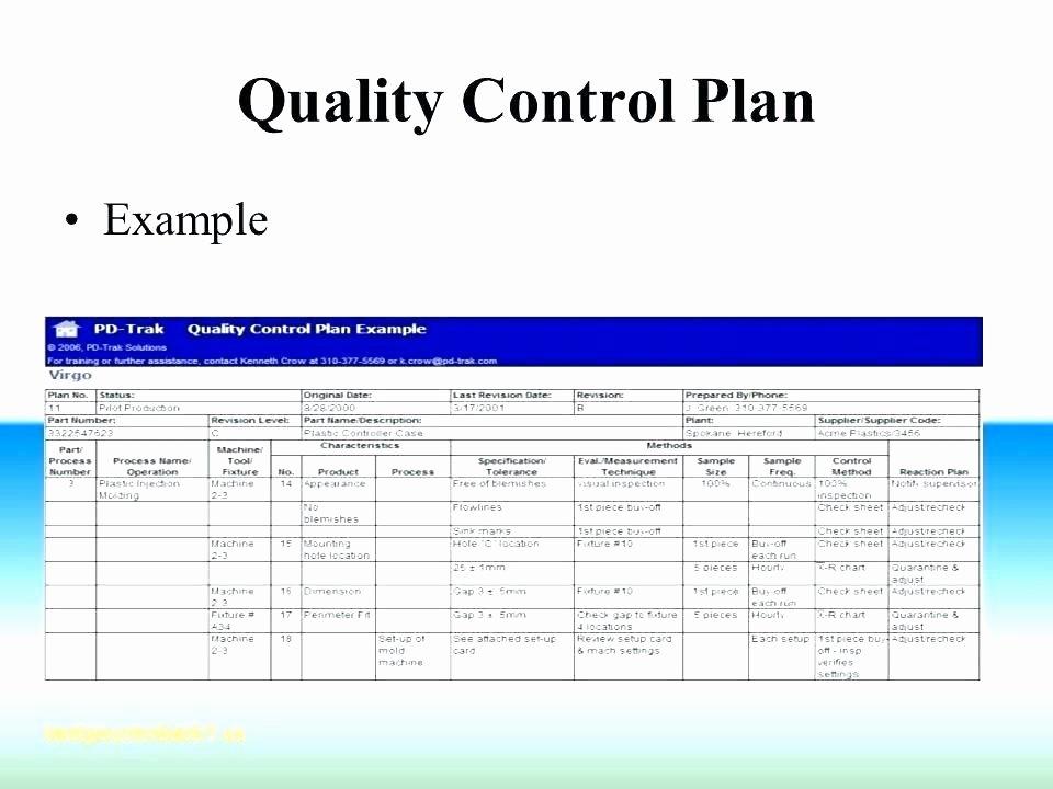 Quality Control Checklist Template Luxury Sample Quality Control Plan for Manufacturing Quality