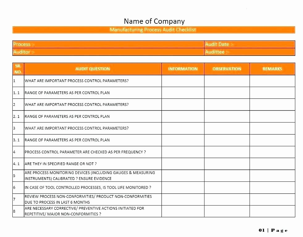 Quality Control Checklist Template New Quality Control Plan Template Excel Quality assurance