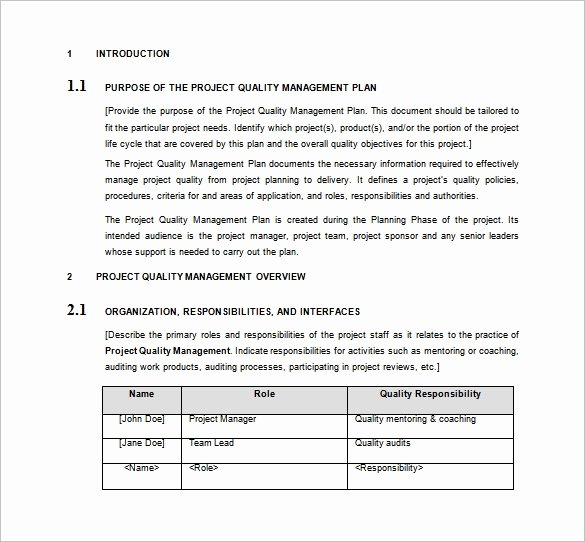 Quality Management Plan Template Best Of 16 Project Management Plan Templates Free Sample